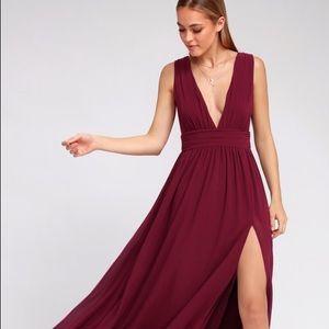Lulus Heavenly Hues Burgundy Maxi Dress